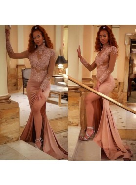 Charming Sheath Dusty Rose Long Sleeves See Through Side Slit High Neck Prom Dresses
