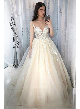 Elegant Ivory Tulle With White Appliques Ball Gown Sweetheart Prom Dresses