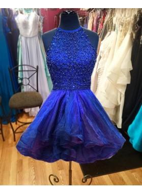 Royal Blue A Line Organza Knee Length Sweetheart Halter Short Beaded Prom Dresses