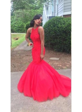 Sexy Red Mermaid African Tulle Beaded Prom Dresses