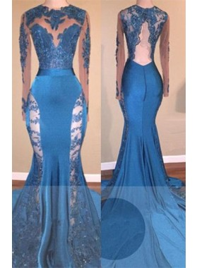 New Arrival Mermaid Blue Lace Backless Long Sleeves Long Prom Dresses