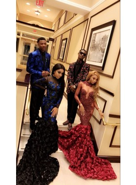 Sexy Mermaid Burgundy Long Sleeves See Through Rose Open Front Long African Prom Dresses