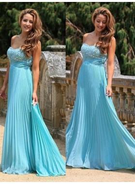 A Line Chiffon Sweetheart Beaded Floor Length Pleated Blue Prom Dresses