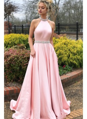 Elegant A Line Pink Satin Backless Halter Long Prom Dresses