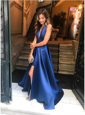 Simple A Line Side Slit Royal Blue Deep V Neck Satin Long Prom Dresses 2020