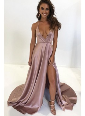 Sexy Deep V Neck Elastic Satin Side Slit A Line Dusty Rose Prom Dresses