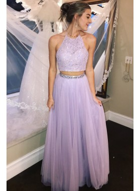 Cheap A Line Tulle Lavender Two Pieces Appliques Halter Prom Dresses