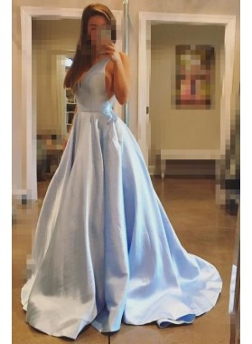 Cheap A Line V Neck Satin Light Sky Blue Backless Long Prom Dresses