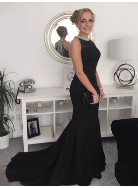 Charming Black Mermaid Beaded Long Train Prom Dresses