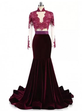 Mermaid Burgundy Long Sleeves Velvet Long High Neck Prom Dresses With Appliques