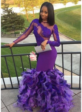 Long Sleeves Purple Mermaid Ruffles Pleated See Through African Prom Dresses