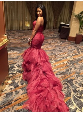 Charming Mermaid Burgundy Strapless African Organza Ruffles Long Prom Dresses