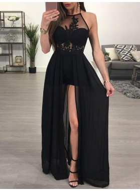 Black A Line Chiffon Side Slit With Appliques See Through Halter Prom Dresses