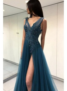 Charming Tulle Side Slit A Line Blue Backless Prom Dresses With Appliques