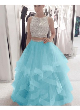 Amazing A Line Ruffles Tulle Two Pieces Beaded Champagne Prom Dresses