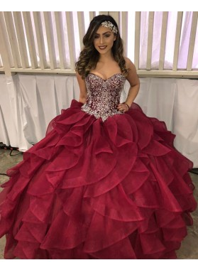 Burgundy Sweetheart Beaded Organza Ruffles Ball Gown Prom Dresses 2021