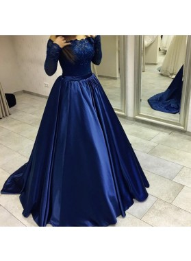 Elegant Long Sleeves Dark Navy Off Shoulder Ball Gown Prom Dresses