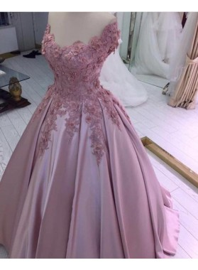 Charming Satin Off Shoulder Flowers Dusty Rose Ball Gown Prom Dresses