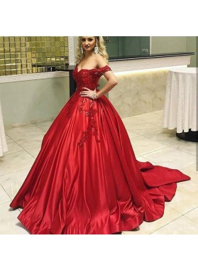 Red Sweetheart Off Shoulder Satin With Appliques Ball Gown Prom Dresses