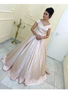 Simple Off Shoulder Plain Pearl Pink Satin Long Ball Gown Prom Dresses