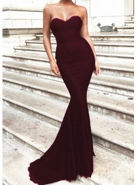 Sexy Mermaid Sweetheart Lace Strapless Prom Dresses