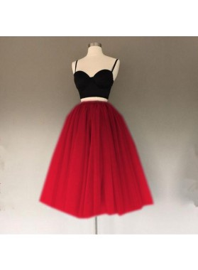 Cheap A Line Tulle Sweetheart Spaghetti Straps Tulle Two Pieces Prom Dresses