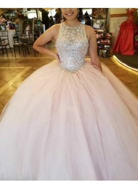New Arrival Royal Blue Tulle Beaded Ball Gown Prom Dresses