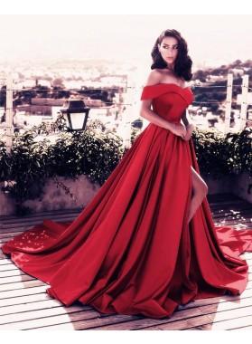 Elegant A Line Satin Side Slit Off Shoulder Red Satin Long Off Shoulder Prom Dresses
