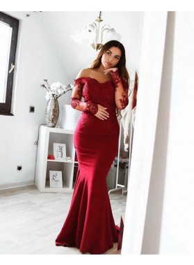 Sexy Mermaid Burgundy Off Shoulder Long Sleeves Prom Dresses