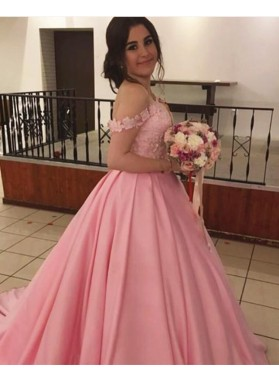 Pink Newly Satin Off Shoulder With Appliques Ball Gown Sweetheart Prom Dresses