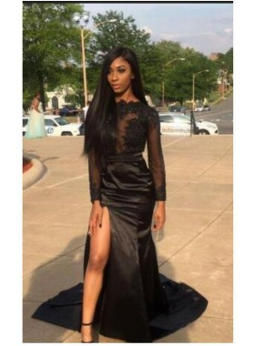 Alluring Sheath Black Side Slit Long Sleeves Elastic Satin See Through Lace Prom Dresses