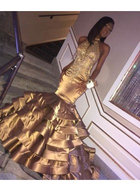 Sexy Tiered Gold Mermaid Tiered Backless African American Black Women's Long Prom Dresses