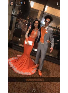 Orange Mermaid See Through Long Sleeves With Appliques Black Women's Prom Dresses