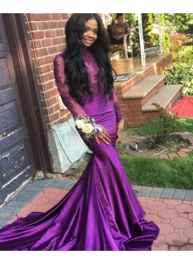 Amazing Mermaid Purple Long Sleeves Elastic Satin With Appliques Black Women's Long Prom Dresses