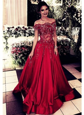Elegant A Line Satin Red Off Shoulder Prom Dresses With Appliques