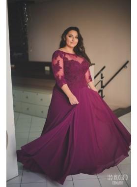 Cheap A Line Chiffon Burgundy Long Sleeves Plus Size Sweetheart Prom Dresses