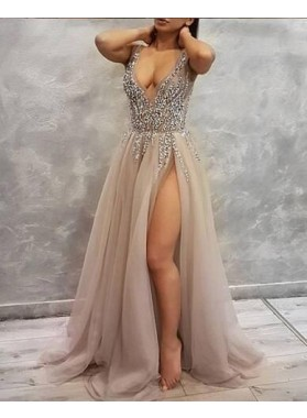 Sexy A Line Deep V Neck Gray Side Slit Beaded Tulle Long Prom Dresses