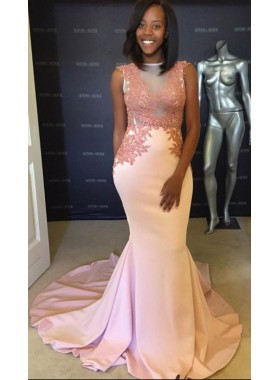 Elegant Mermaid Satin Blushing Pink Sleeveless Prom Dresses With Appliques For African American