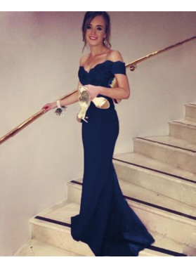 Elegant Sweetheart Sheath Off Shoulder Satin Dark Navy Prom Dresses