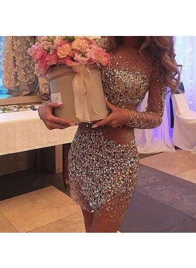 2019 New Arrival Sexy Sheath Knee Length See Through Beaded Long Sleeves Short Prom Dresses