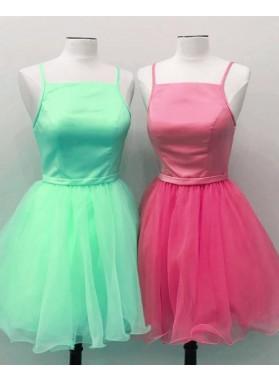 Cheap A Line Knee Length Halter Chiffon Short Girl's Backless Prom Dresses