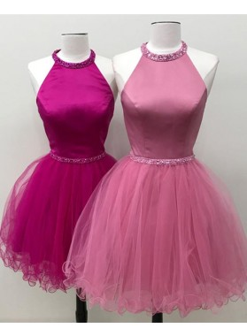Cute A Line Halter Beaded Tulle Knee Length Backless Short Prom Dresses