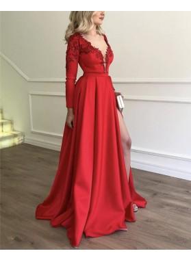 Elegant A Line Deep V Neck Red Side Slit Satin Long Sleeves Prom Dresses