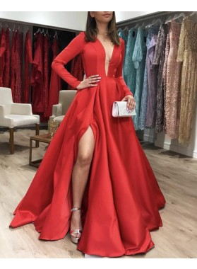 Elegant Red A Line Long Sleeves Deep V Neck Satin Side Slit Long Prom Dresses