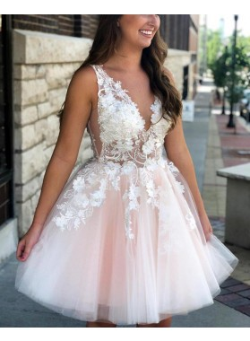 Cute A Line Deep V Neck Beaded Tulle Knee Length Short Prom Dresses With Appliques