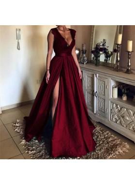 Alluring A Line Satin Side Slit Deep V Neck Lace Long Prom Dresses