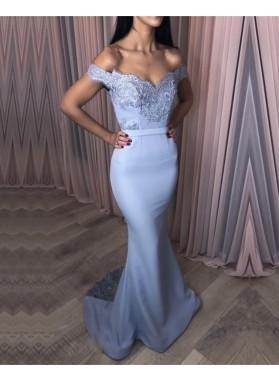 Charming Off Shoulder Mermaid Light Sky Blue Sweetheart Satin Long Prom Dresses