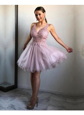Cheap A Line V Neck Lilac Organza Knee Length Short Prom Dresses