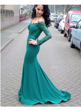 Sexy Sheath Jade Off Shoulder Long Sleeves Lace Long Sweetheart Prom Dresses