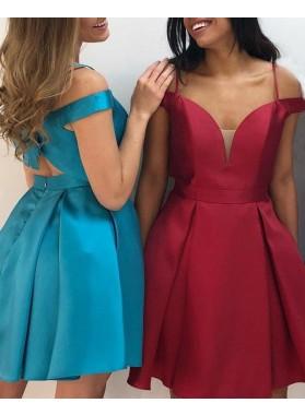 Short A Line Simple Sweetheart Spaghetti Straps Satin Knee Length Bowknot Back Prom Dresses